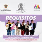Campaña Extraordinaria de Regularización del Estado Civil en Toluca