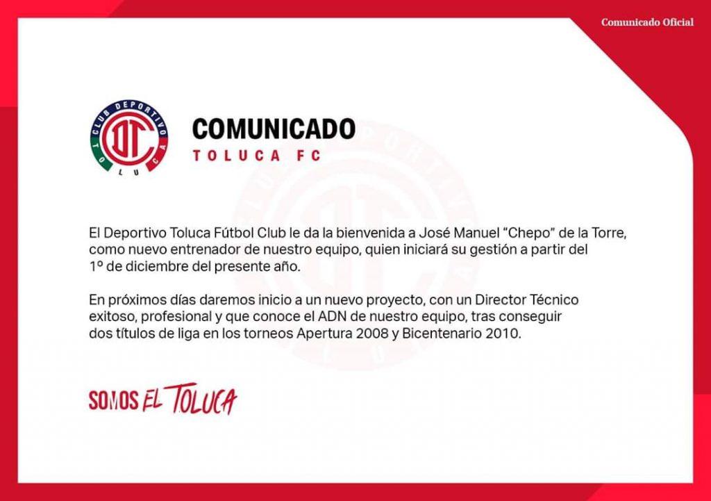 Chepo de la Torre nuevo técnico de Toluca