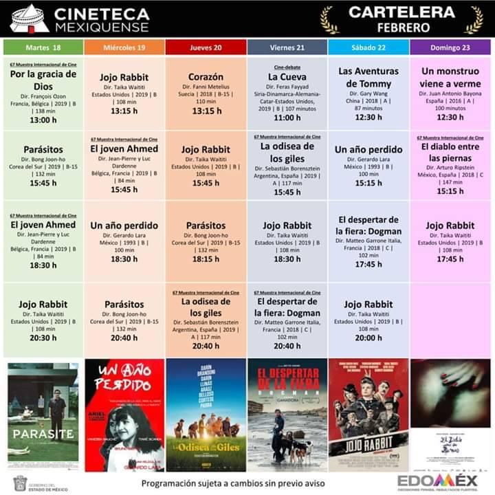 Cartelera Cineteca Mexiquense