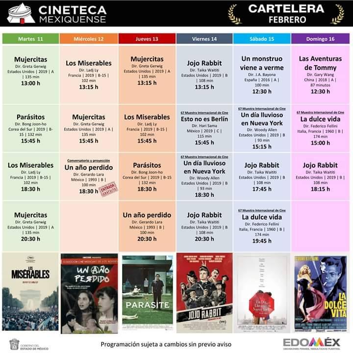 Cartelera de la Cineteca Mexiquense 10 de febrero