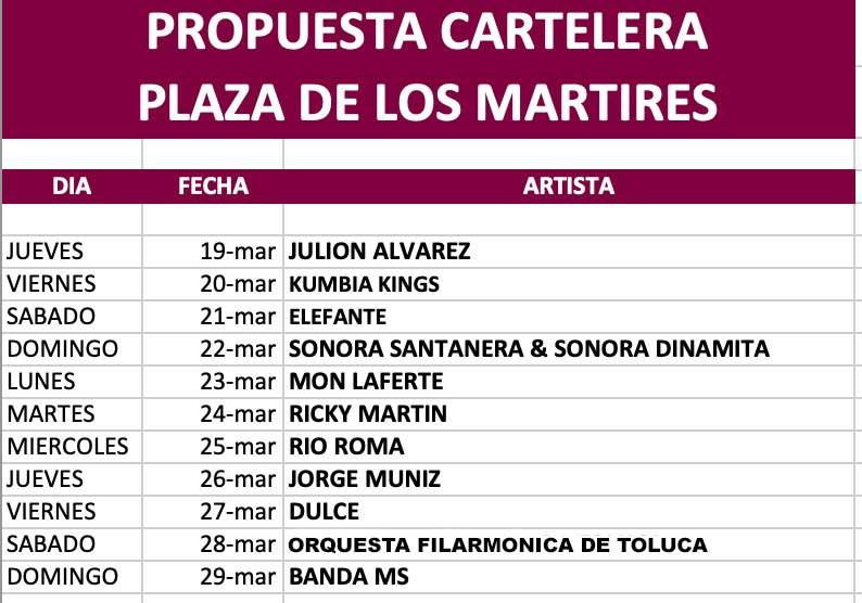 Artistas y fechas Festiva 2020 Toluca