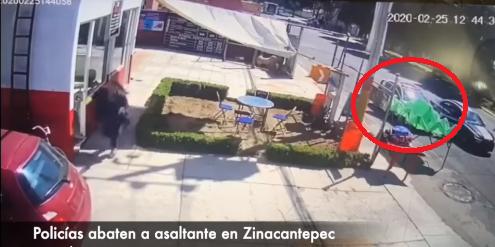 (Video) Cámara de seguridad privada capta balacera en Zinacantepec