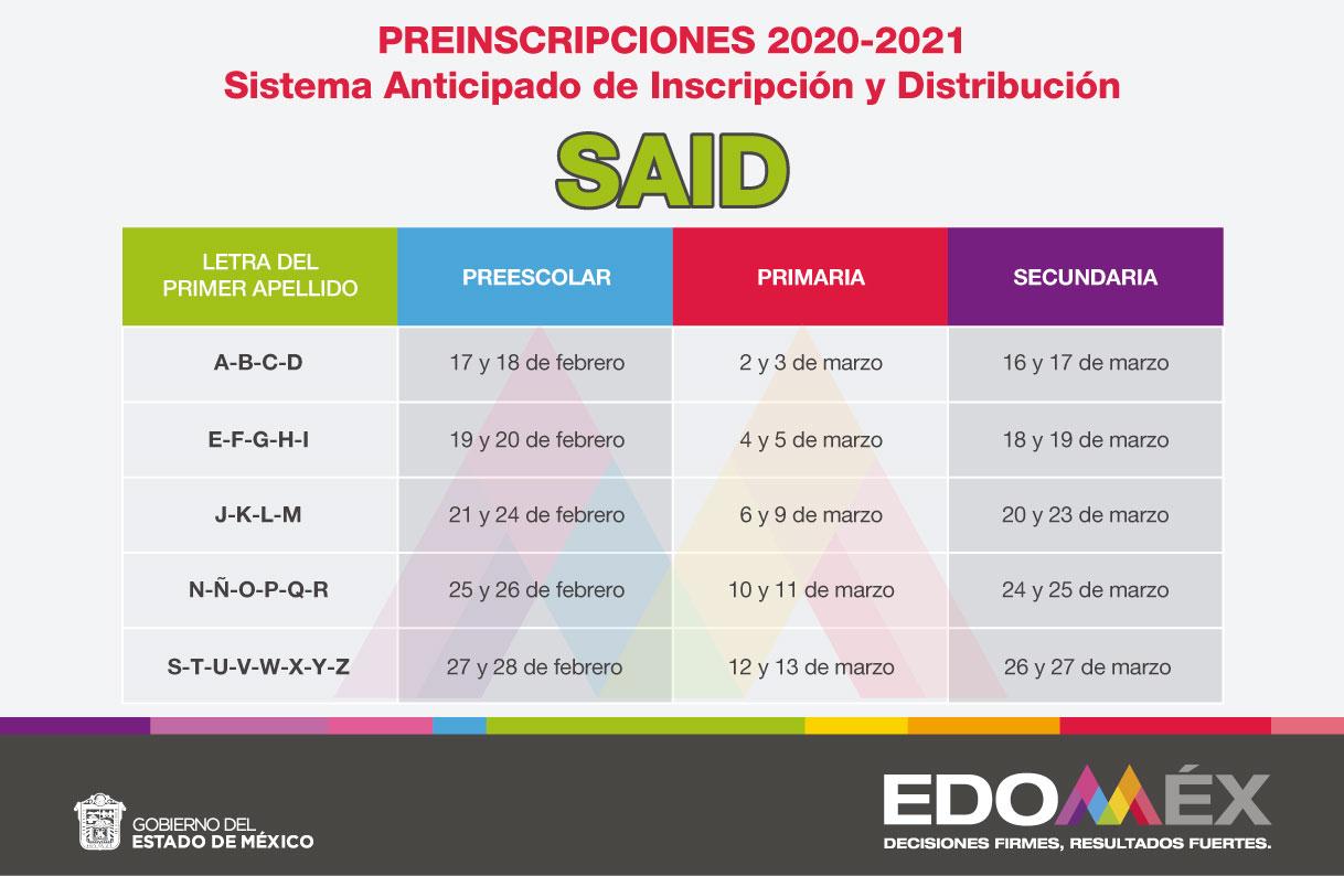 Fechas preinscripciones EdoMex preescolar, primaria y secundaria