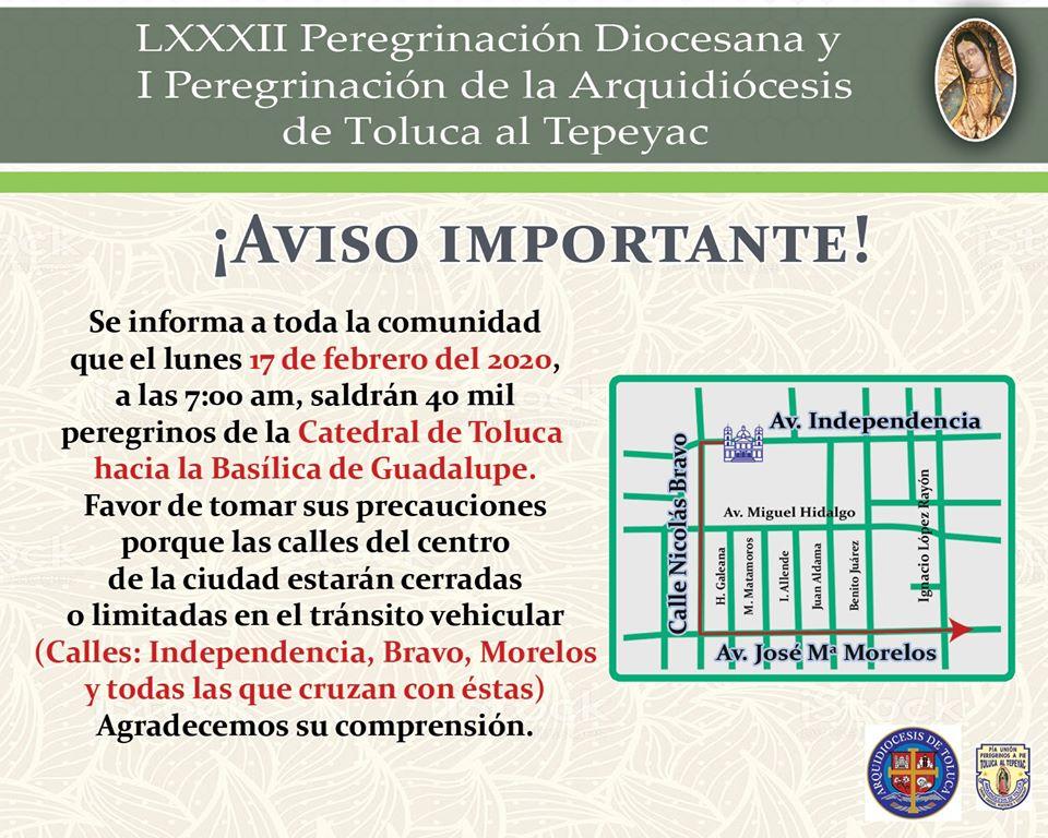 Todo listo para la LXXXII Peregrinación anual de Toluca hacia el Tepeyac