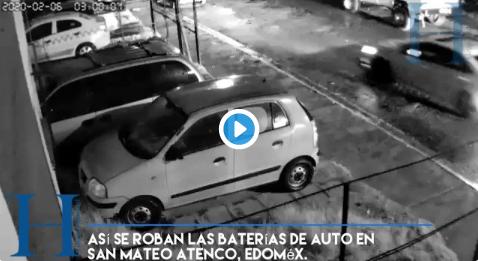 vídeo roban batería a un auto en san mateo atenco