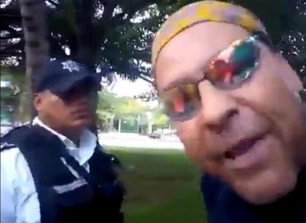 video-hombre-agrede-policia-tras-entrar-espacio-restringido-por-coronavirus