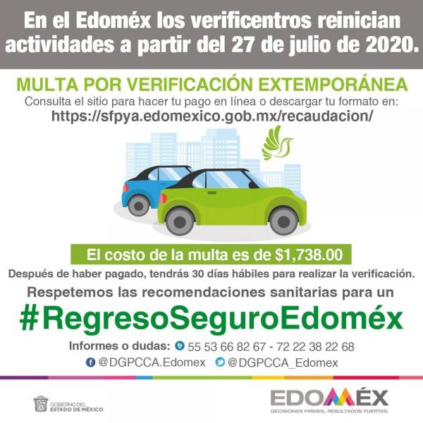 Este es el costo de las multas por verificación extemporánea en el EDOMEX