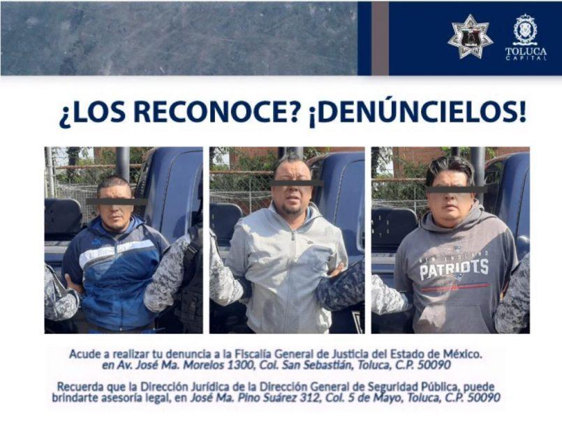 El día de hoy, elementos de la Dirección General de Seguridad Pública detuvieron a tres sujetos armados en San Lorenzo Tepaltitlán.