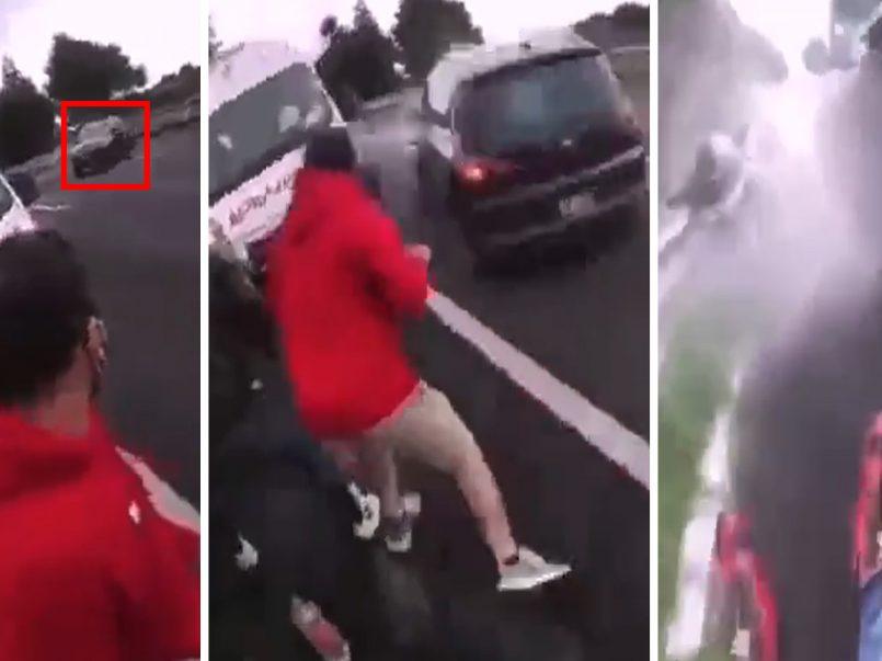 VIDEO Camioneta embiste a motociclistas previamente accidentados1