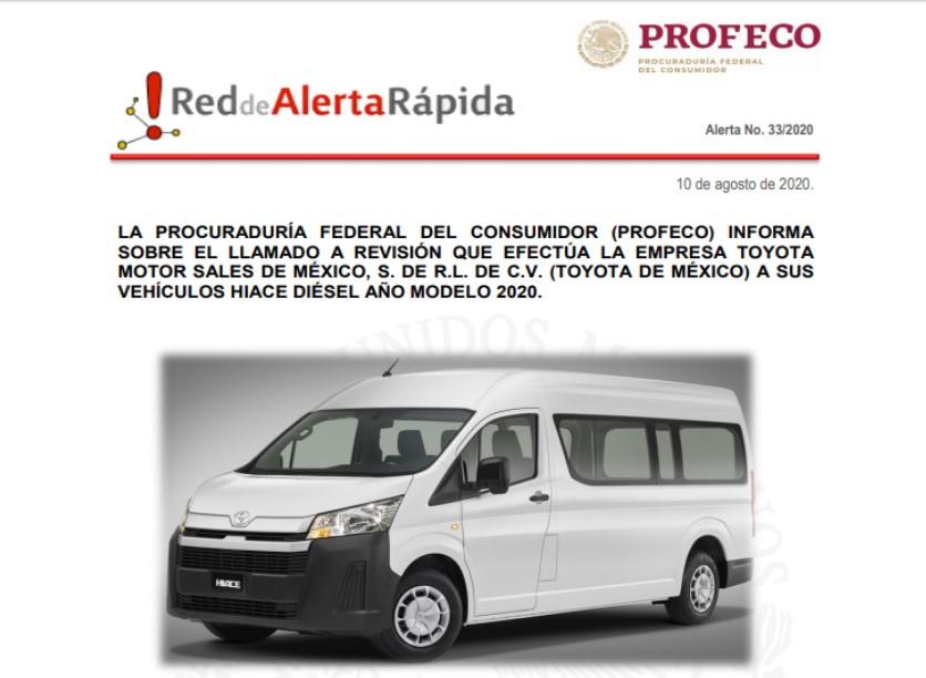 PROFECO alerta por falla en auto de Toyota