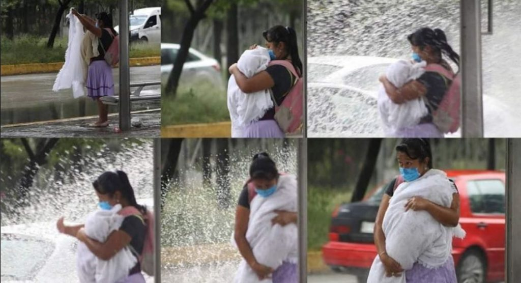 Mujer con bebe en brazos es empapada por automóvil