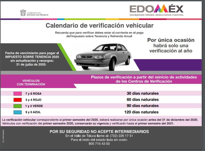 Calendario de verificación vehicular EdoMex 2020