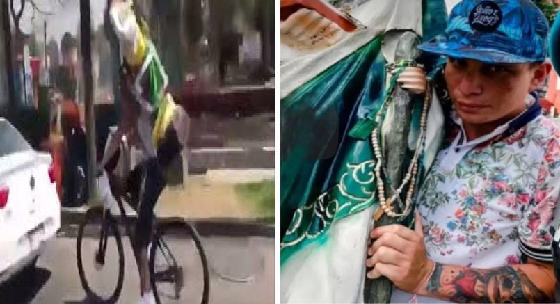 Conoce al ciclista que se estrelló con San Judas en la espalda || VIDEO