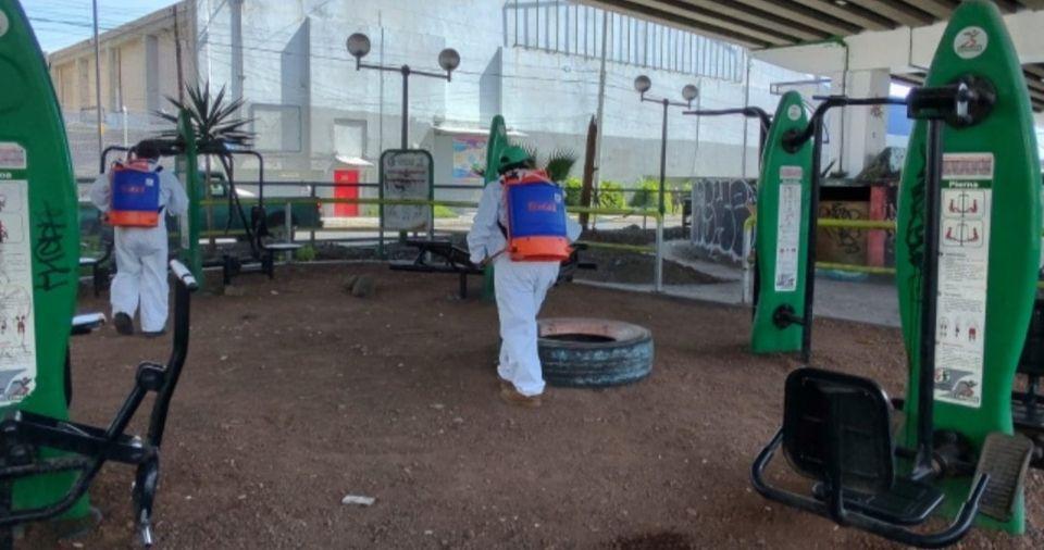 Continúan tareas de desinfección en las delegaciones de Toluca