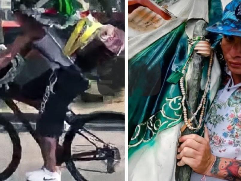 Entrevistan a ciclista que se estrello con inmenso San Judas || VIDEO