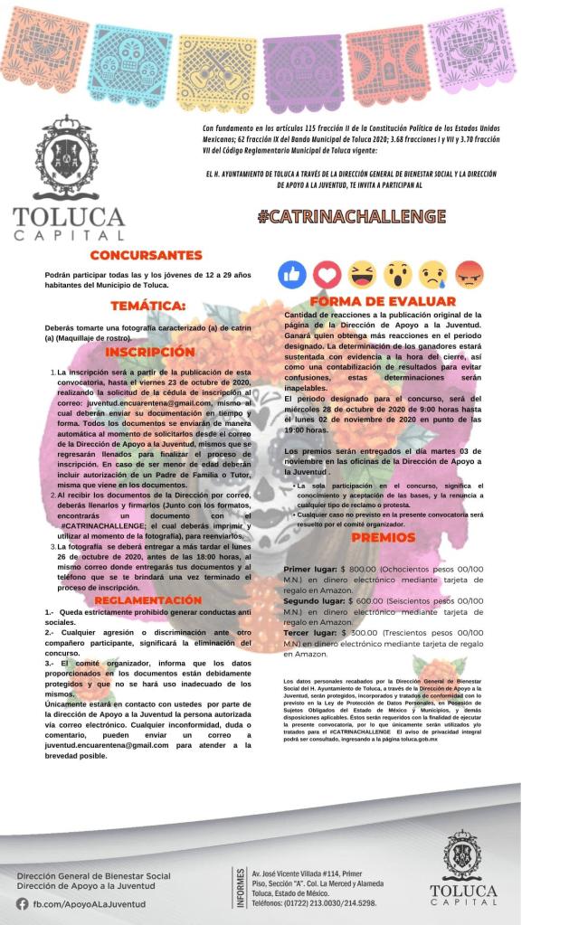Toluca invita a participar en el #CatrinaChallenge para ganar hasta 800 pesos