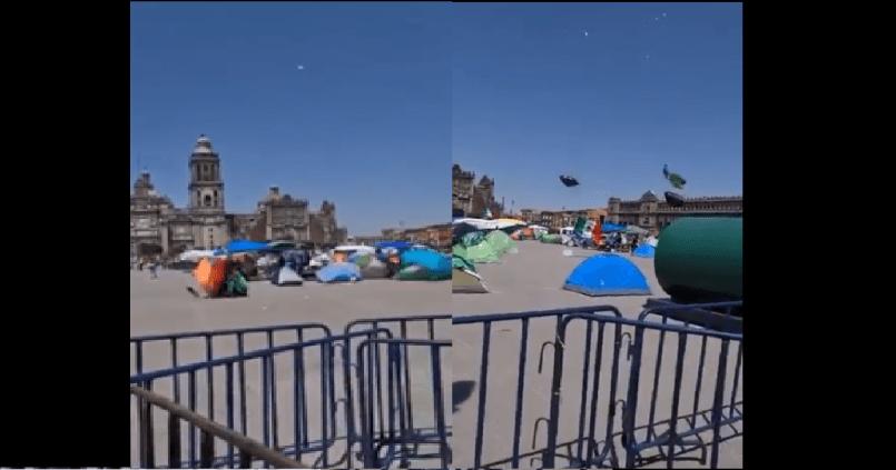 (Video) Fuertes vientos de la CDMX se llevan casas de campaña de FRENA