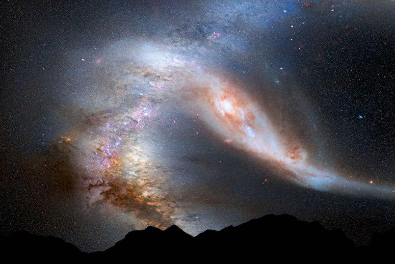 Así se observaría el impacto entre Andrómeda y la Vía Láctea
