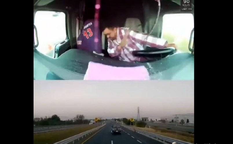 (Video) Conductor de tráiler evita balas mientras conducía tratando de evitar un asalto