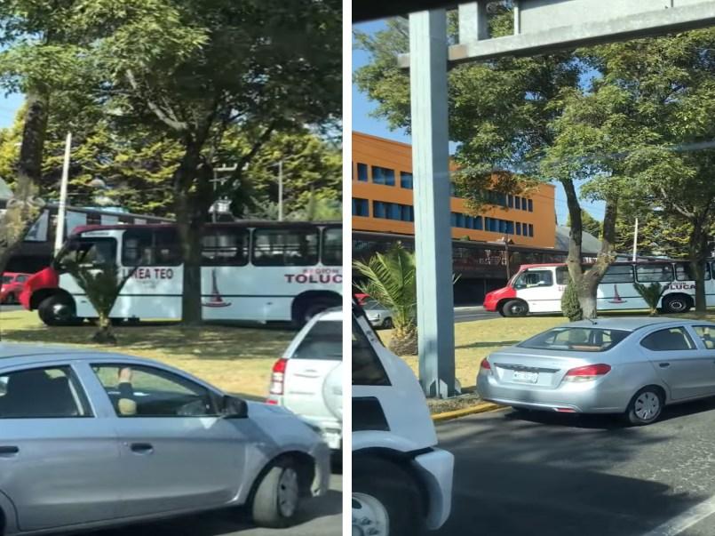 Camionero cruza acera como retorno en avenida Isidro Fabela