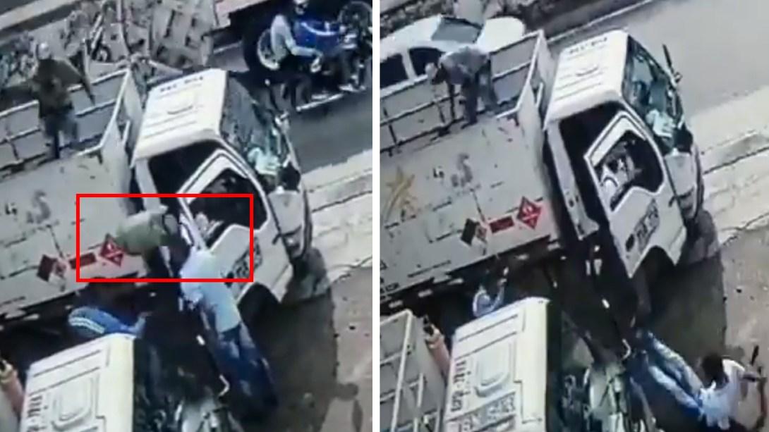 Gasero lanza tanque de gas a presunto delincuente para evitar asalto