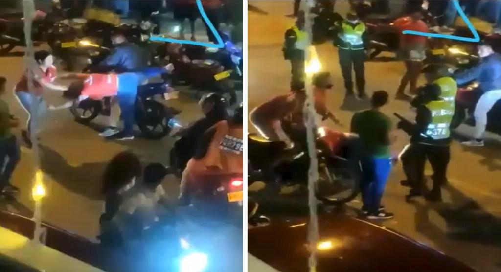 Mujer encara a la presunta amante de su marido bajándola de una motocicleta