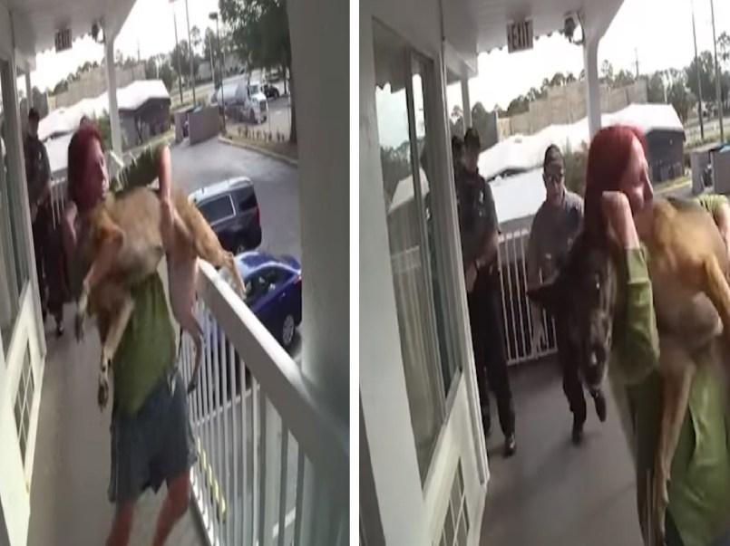 Mujer lanza a su perro desde un segundo piso y amenaza con quitarse la vida