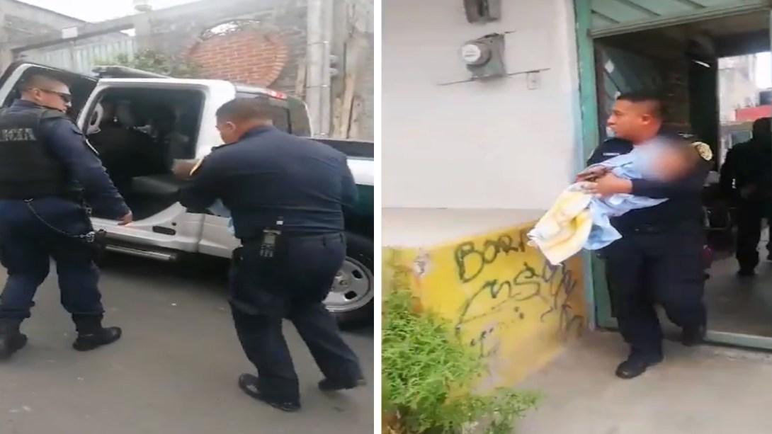Policías capitalinos salvan a bebé que cayó a una tina y dejo de respirar