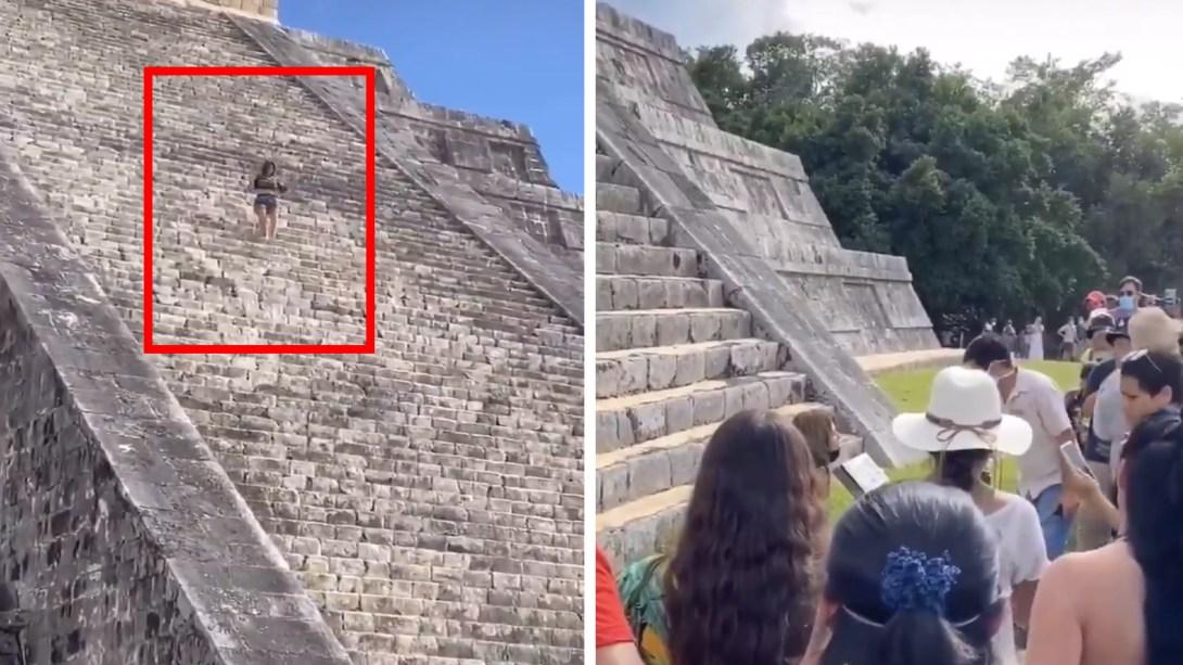 Mujer es detenida por subir a Chichén Itzá
