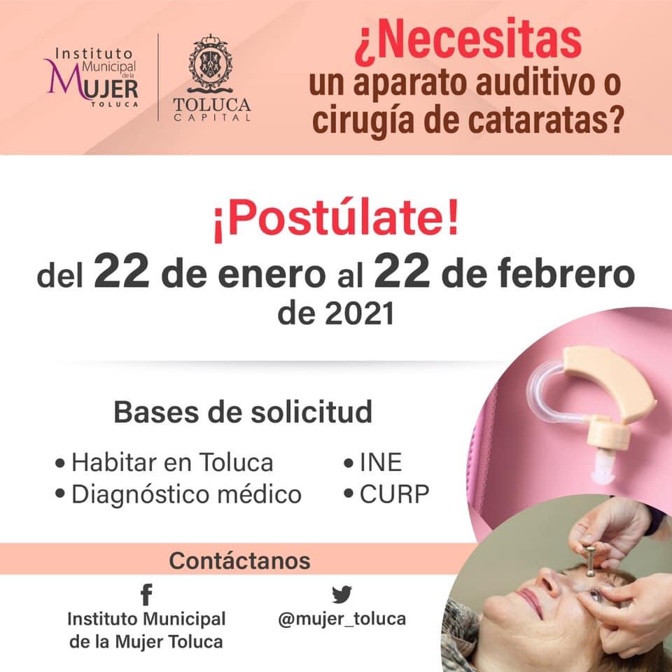¿Cómo solicitar apoyo de aparato auditivo o cirugía de cataratas en Toluca?