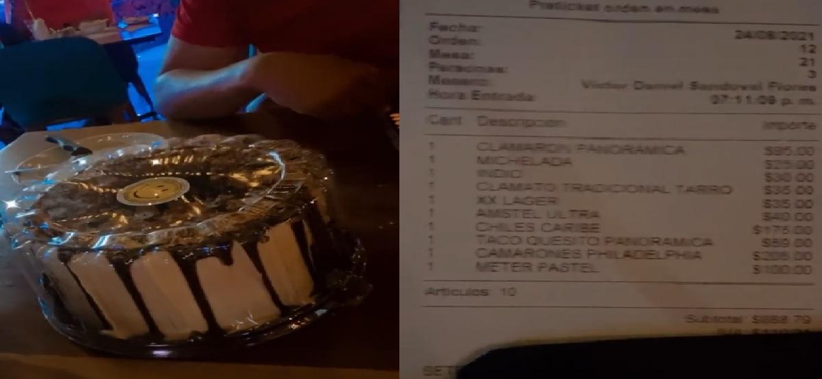 Historia viral: Mesero cobra a 100 pesos la metida de pastel al refrigerador